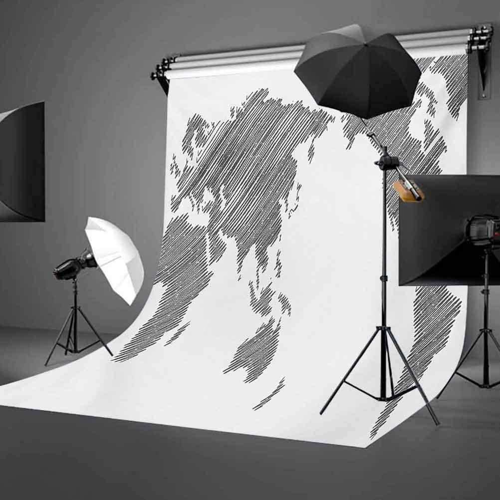 World Map 6.5x10 FT Photo Backdrops,Sketchy Striped Continents Cartography Geography Countries Worldwide Art Background for Party Home Decor Outdoorsy Theme Vinyl Shoot Props Charcoal Grey White