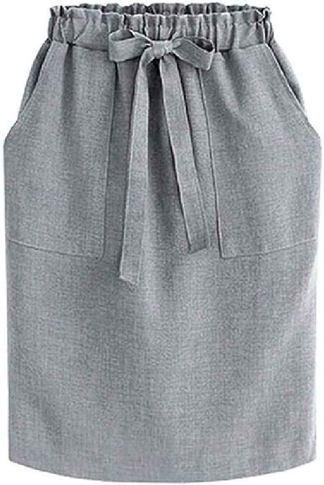 Faldas de mujer vintage con bolsillo de cintura alta, cintura alta, cinturón de lazo, falda midi de verano de Europa verde para niñas faldas