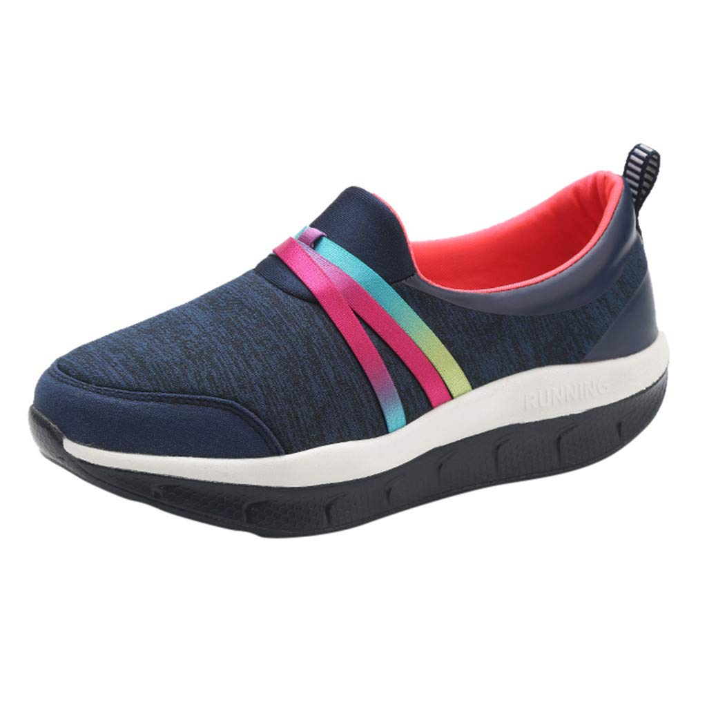 2019 Summer Women's Casual Soft Bottom Sneakers Summer Outdoor Slip On Thick Bottom Shake Running Walking Sports Shoes (Dark Blue, US:6) by AuroraX Shoes