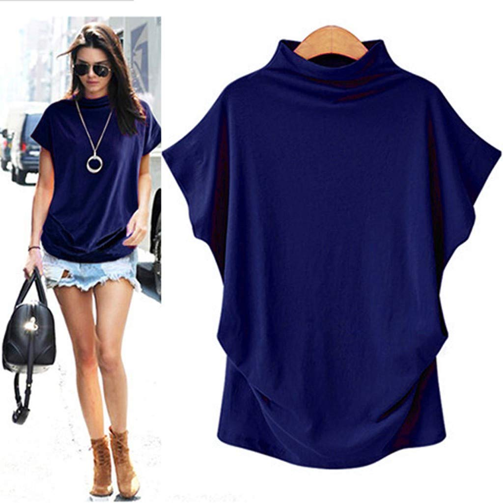 vermers Womens Plus Size Basic T Shirts Tops Casual Turtleneck Solid Short Sleeve Solid Tees Blouse
