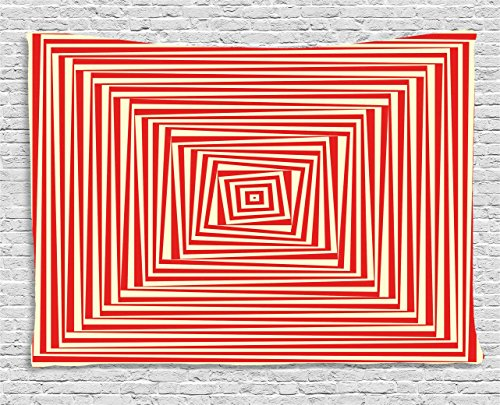 Ambesonne Psychedelic Tapestry by, Hypnotic Maze Twisty Optical Theme Dizzy Pattern Trance Abstract, Wall Hanging for Bedroom Living Room Dorm, 80 W X 60 L Inches, Vermilion and Pale Yellow