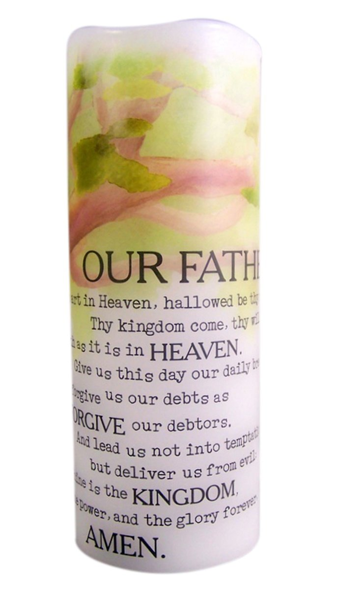 The Lord's Prayer Flamless Flicker Vanilla Scented Wax Candle with LED Light, 8 Inch