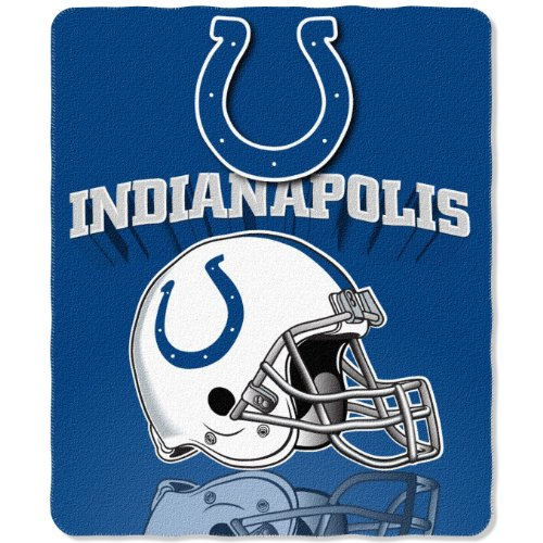 (NFL Indianapolis Colts Gridiron Fleece Throw, 50-inches x 60-inches )