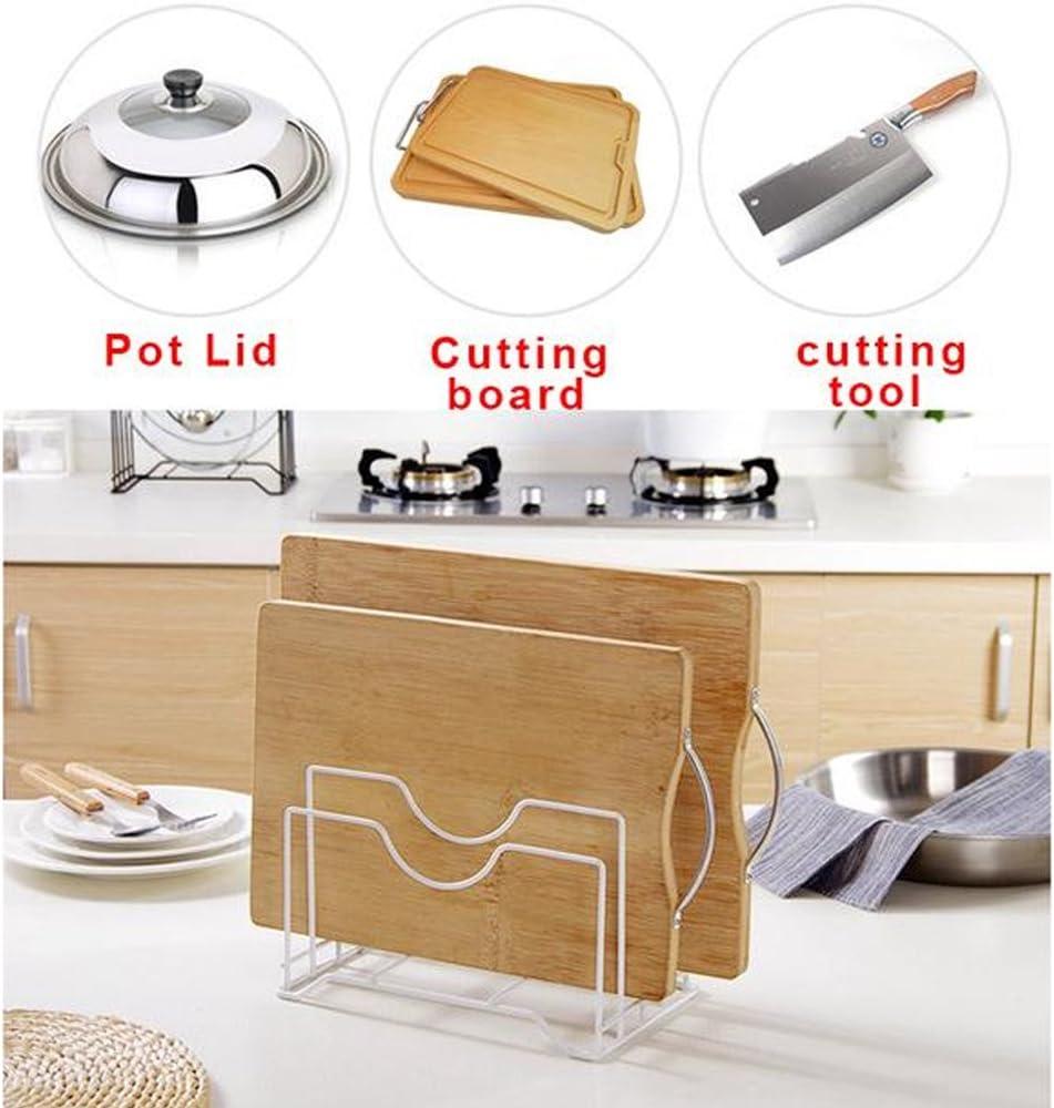 blanco estante de almacenamiento de pie organizador de tapa de olla soporte para tabla de cortar cuchara de acero Soporte para sartenes de cocina