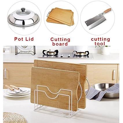 Estantería de almacenamiento para cocina, bandeja de cocina, soporte para maceta, tapa organizadora, cuchara, espátula de cocina, expositor Tamaño ...