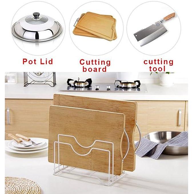 Soporte para sartenes de cocina, organizador de tapa de olla, estante de almacenamiento de pie, cuchara de acero para cocinar espátula, soporte para tabla ...
