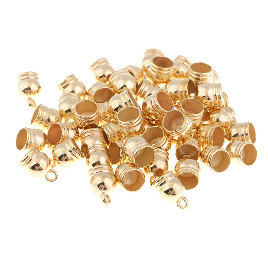 Homyl 50Pcs Exquisite Tassels End Cap Bead Stopper Fit 10mm Leather Cord Jewelry Findings - Black