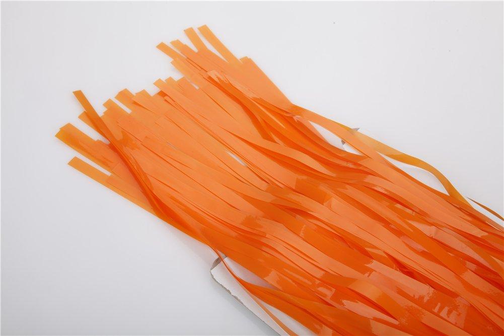 3 Feet x 8 Feet Orange Metallic Tinsel Foil Fringe Curtains for Party Photo Backdrop Wedding Decor