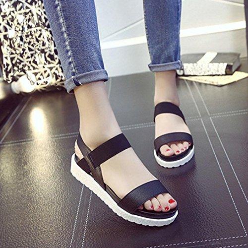DIGOOD Summer Sandals for Women,Ladies Teen Girls Fashion Platform Toe Chunky Sole Casual Sandal Shoes Black