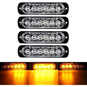 4X 6 LED Car Truck Emergency Amber Strobe Flashing Beacon Breakdown 12//24V Light