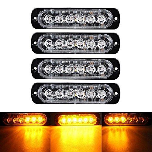 XT AUTO 6LED Car Truck Emergency Beacon Warning Hazard Flash Strobe Light Amber/Amber 4-pack
