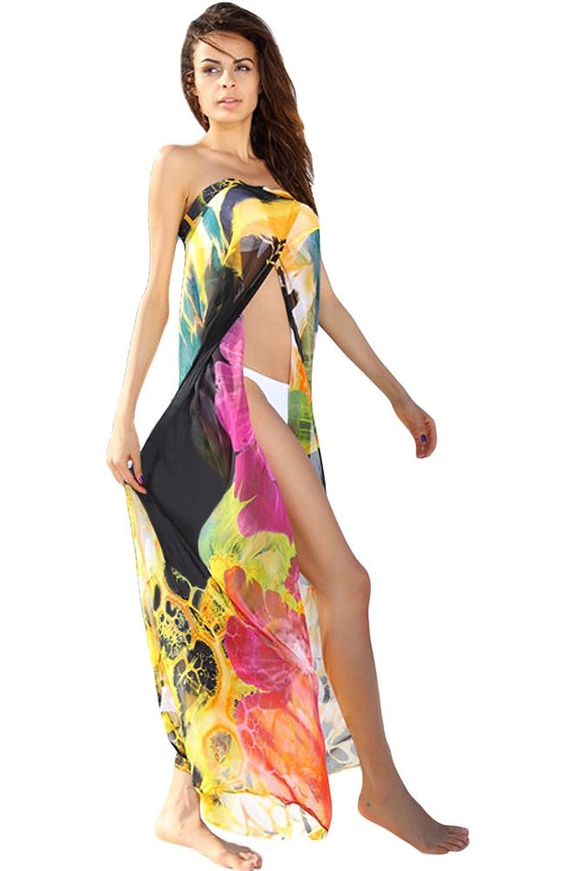 NICE BUY Damen Chiffon Cover-up Beachwear Blumen Trägerkleid