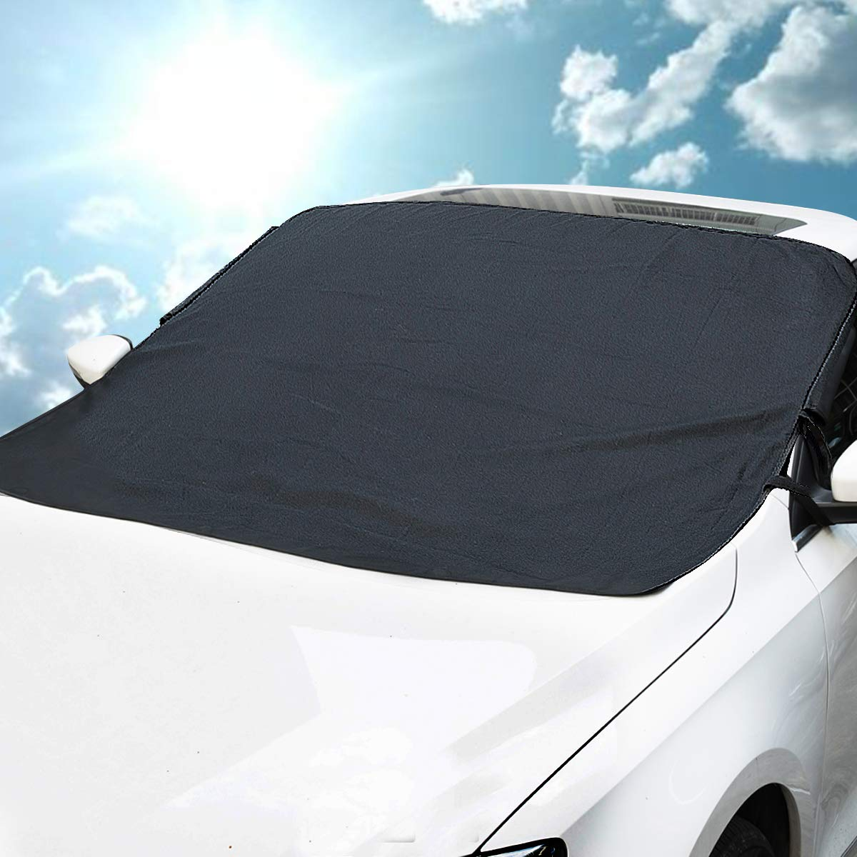 MATCC Car Windscreen Frost Cover Magnetic Snow Cover Windshield Ice Cover for Winter Dust Sun Shade Protector with Lengthened Side Panels in All Weather