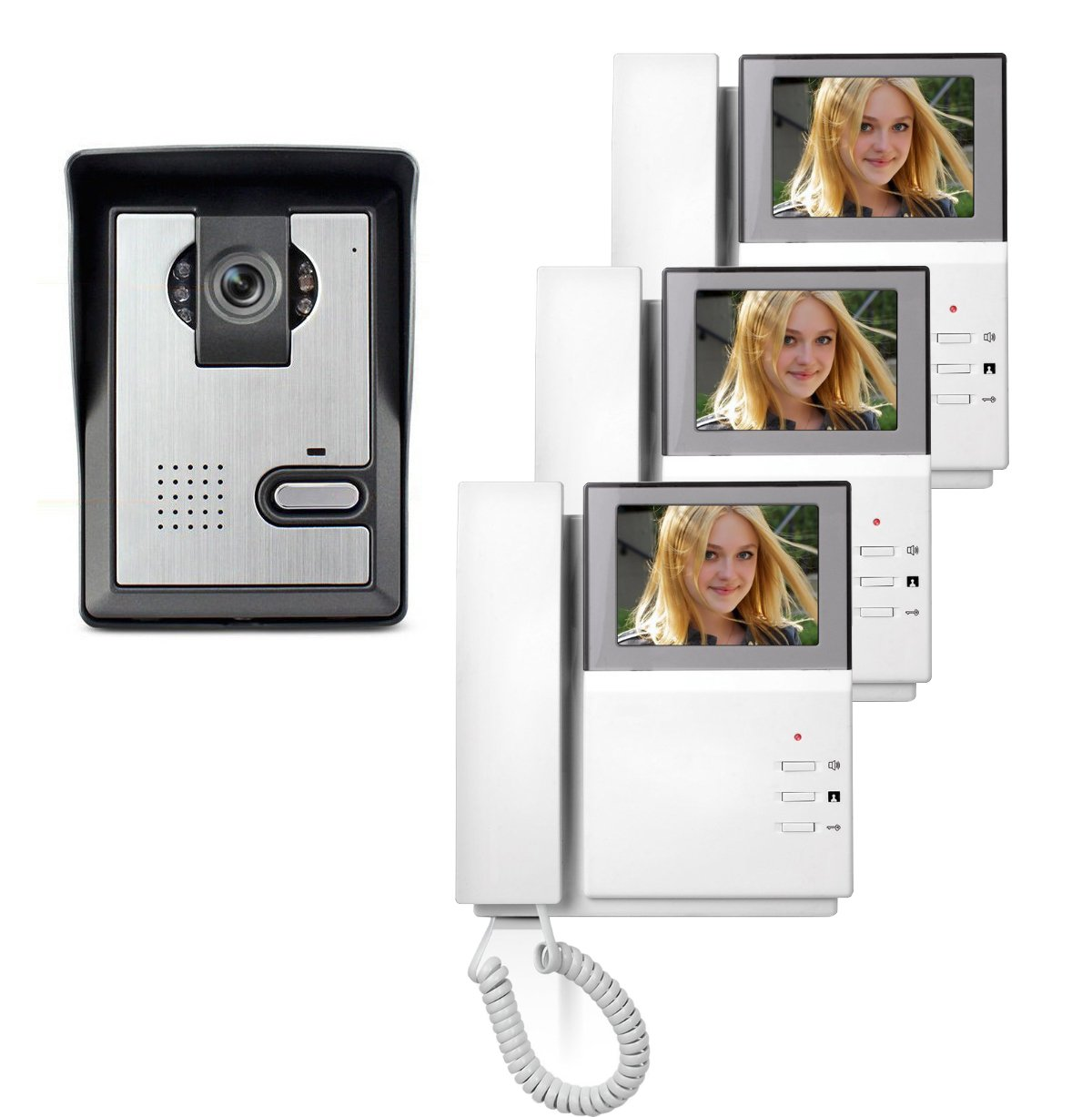AMOCAM Video Door Phone System, 4.3 Inch Clear LCD Monitor Wired Video Intercom Doorbell Kits with 3PCS Monitor, Night Vision Camera Door Bell Intercom, Doorphone Telephone style for Home Improvement