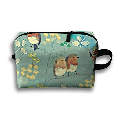 best ZGWS Birds And Butterflies Toiletry Bag Makeup Organizer Cosmetic Bag Portable  Travel ba1426b79bf27