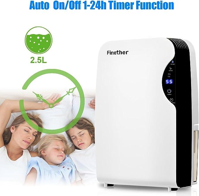 Finether Mini - Deshumidificador de aire portátil y silencioso con ...