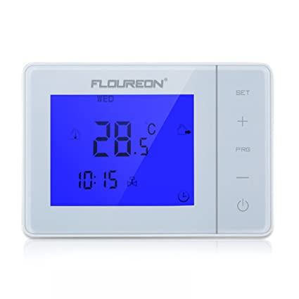 FLOUREON Electric Heating Thermostat With LCD Touchscreen Blue Backlight Display Programmable 5 +2/6