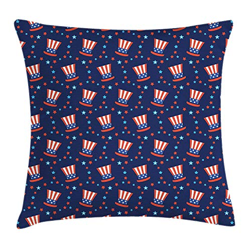 USA Throw Pillow Cushion Cover, Uncle Sam Hats American Culture Celebration Independence Anniversary Concept, Decorative Square Accent Pillow Case, 18 X 18 inches, Navy Blue White Red
