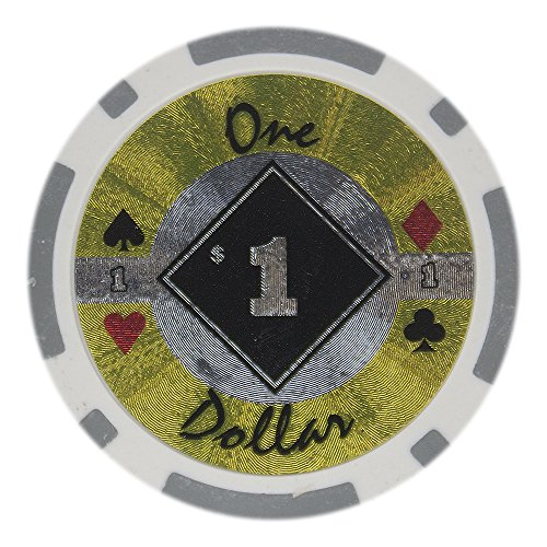 Composite Poker Clay Chips Diamond (Brybelly Black Diamond Poker Chip Heavyweight 14-gram Clay Composite – Pack of 50 ($1 Gray))
