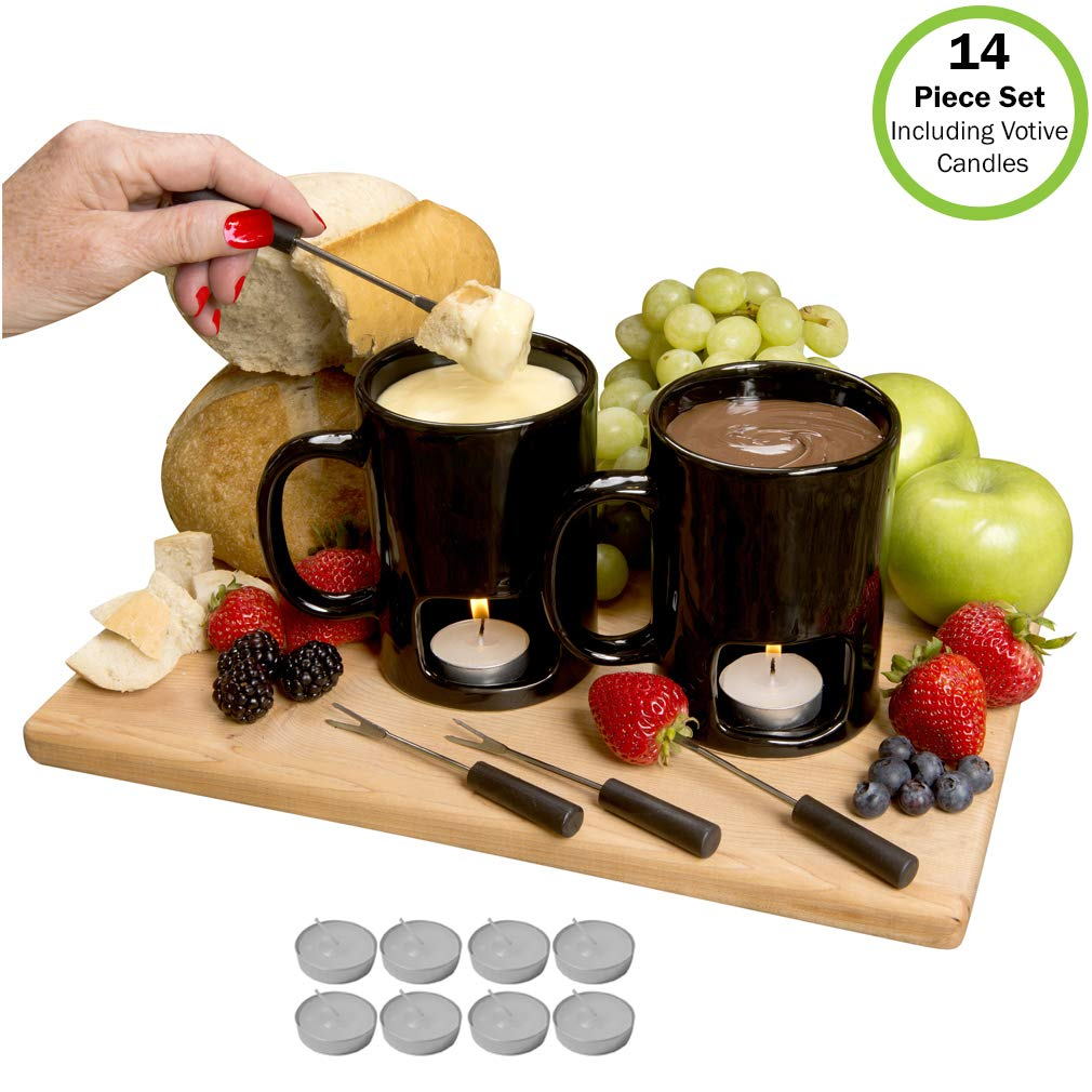 Evelots Fondue Mugs,2 Mugs,4 Forks /& 8 Votive Candles-Minor Defects-14 Piece Set