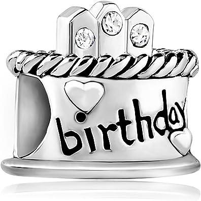 Korliya 925 Sterling Silver Birthday Cake Charm Bead For Bracelet