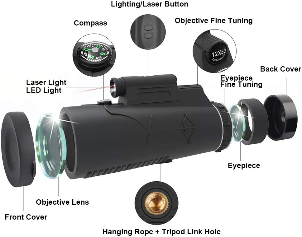 KNMY Telescopio Monocular HD 12x50 Visión Nocturna, Luz de Antorcha Roja, Impermeable con Soporte para Teléfono, Trípode, Brújula para Teléfono Móvil, ...