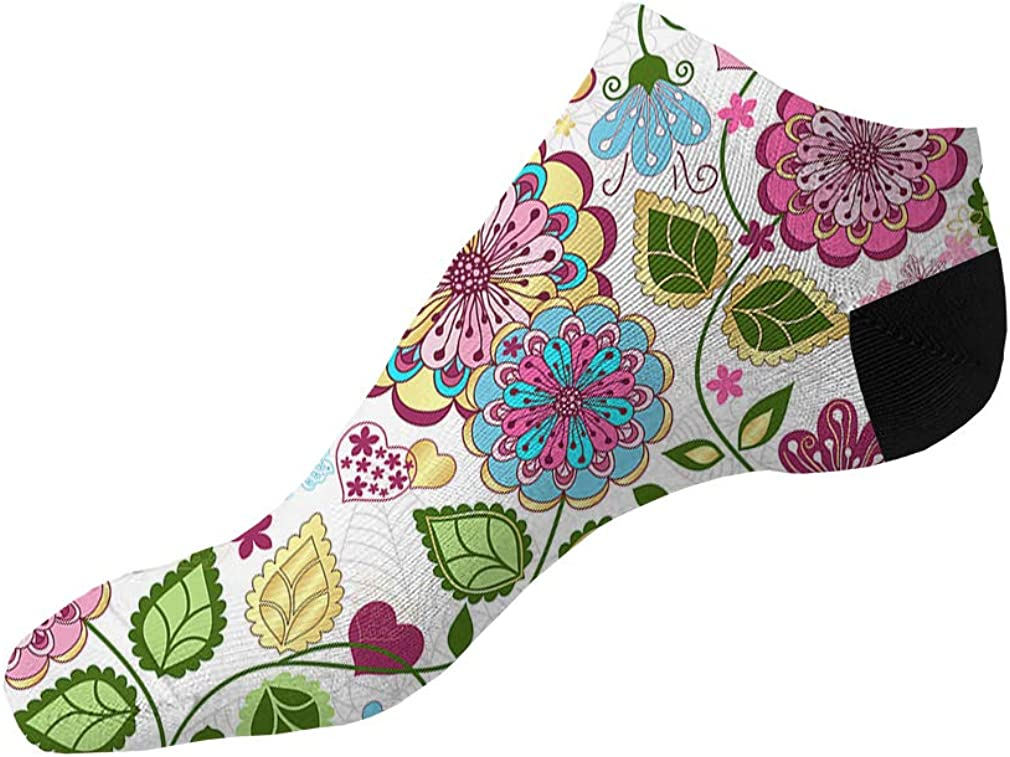 Pink And Blue Art Flowers Pattern #3 Men-Women Adult Ankle Socks