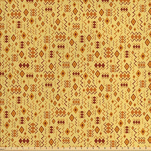 Ambesonne African Fabric by The Yard, Random Doodles Pattern Herringbone Indigenous Art Folk Features, Decorative Fabric for Upholstery and Home Accents, 1 Yard, Brown Marigold Mustard from Ambesonne