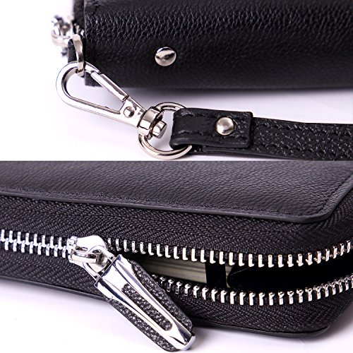 Women RFID Blocking Wallet Genuine Leather Zip Around Clutch Ladies Purse Wristlet (Black Pebble)