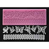 FOUR-C Cake Mold Silicone Embossing Cake Mat Butterfly Decor Silicone Pad Color Pink
