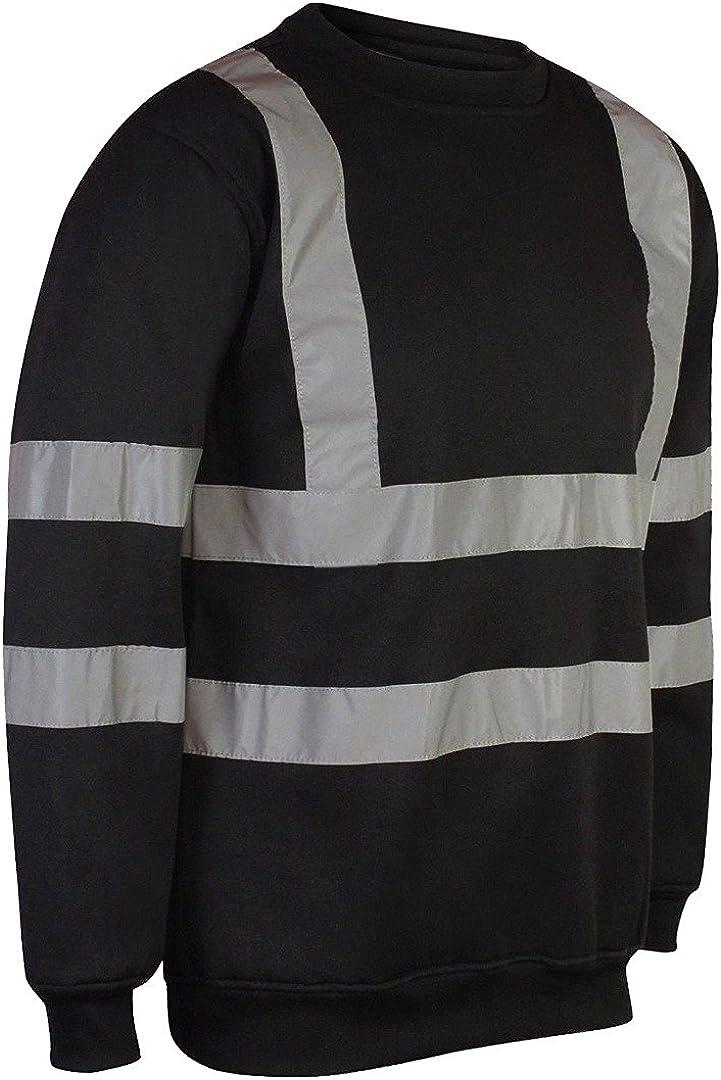 MyShoeStore Hi Viz Vis Crew Neck Sweatshirt High Visibility Work Wear Sweat Shirt Jumper Reflective Tape Band Safety Security Outdoor Leisure Warm Casual Fleece Top Big Sizes S-5XL