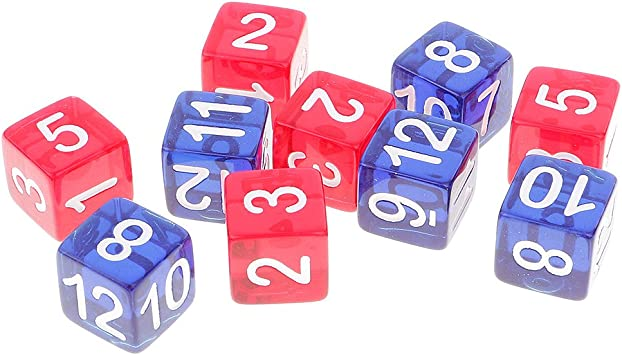 Gazechimp 10PCS D6 Seis Caras Dados de Números 1-12 Cuadrados Transparentes Juegos de Mesa: Amazon.es: Juguetes y juegos