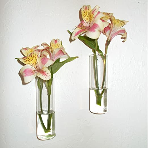 Amazon Com Set Of Two Hand Blown Glass Wall Vases Home Kitchen