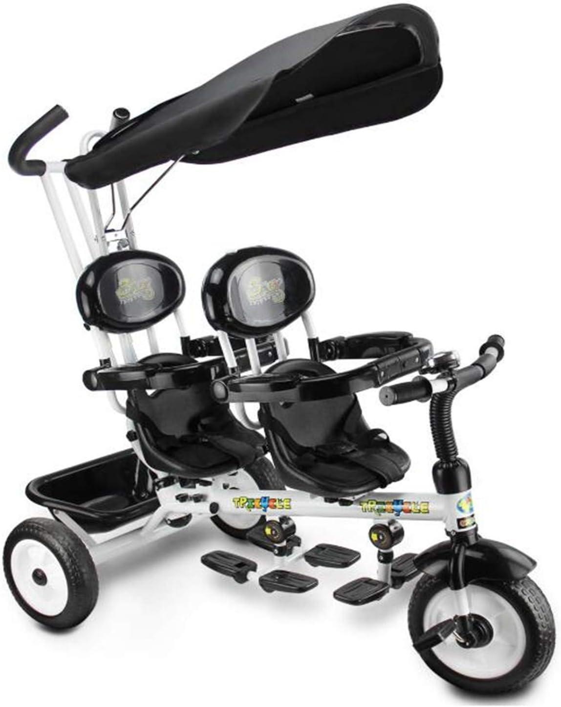BABIFIS Niños 4 en 1 triciclos de niños Triciclos Dobles para Gemelos, Cochecito de Cochecito de bebé Infantil 3 Ruedas con Dosel y Canasta Black