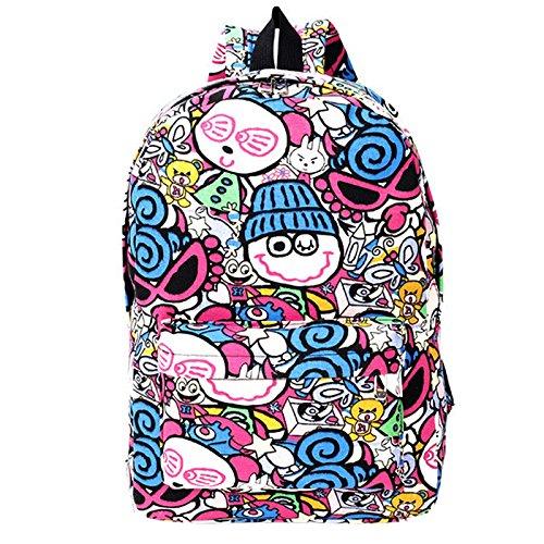 Zantec Mochila Moda ocio escuela mochila lona Pringting hombro bolsa de viaje bolsa Blue