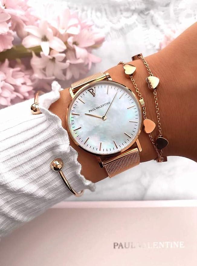 Paul Valentine - Reloj de Pulsera para Mujer (Malla Seashell, 38 mm), Color Oro Rosa: Amazon.es: Relojes