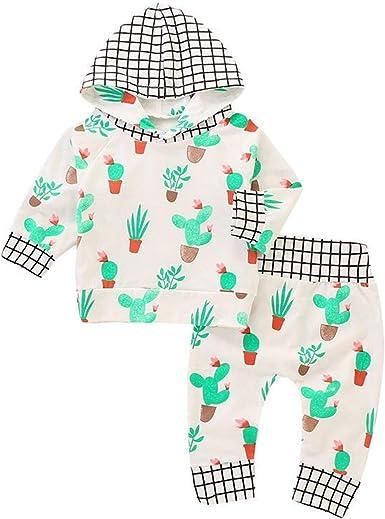 Newborn Baby Boys Girls Plaids Print Hoodies Tops+Pants Kids Outfit Set Clothes
