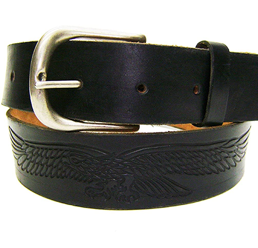 Modestone Western Embossed Eagle Leather Belt 1.5 Width 1//8 Thick Black