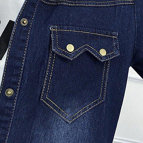 Huiwa Womens Denim Jacket Basic Coat Solid Jeans Coats Loose Long Sleeve Outwear Dark Blue One Size at Amazon Womens Coats Shop