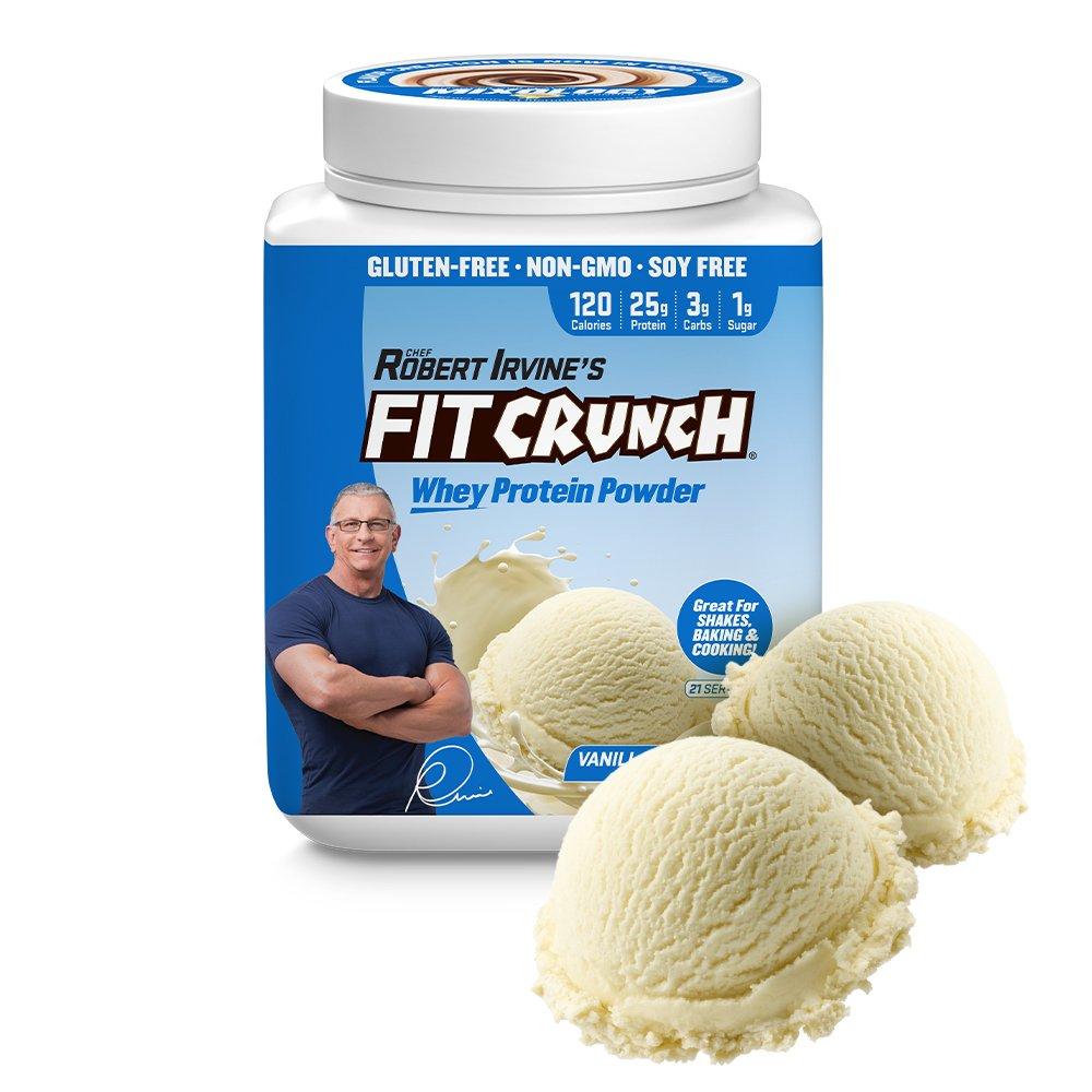 FITCRUNCH Tri-Blend Protein   Designed by Robert Irvine   120 Calories, 25g of Protein & 1g of Sugar   Mixology Technology, Gluten Free, Soy Free & Non-GMO (Vanilla Milkshake)
