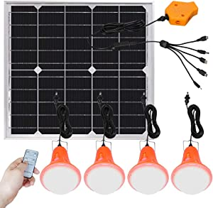 Roopure 20W Solar Panel Lighting Kit Solar Off Grid Lights with Remote Control Solar Powered Shed Lights 4 LED Light Bulb as Emergency Light Cellphone Charger/5V 1A Output Can Charge Power Bank