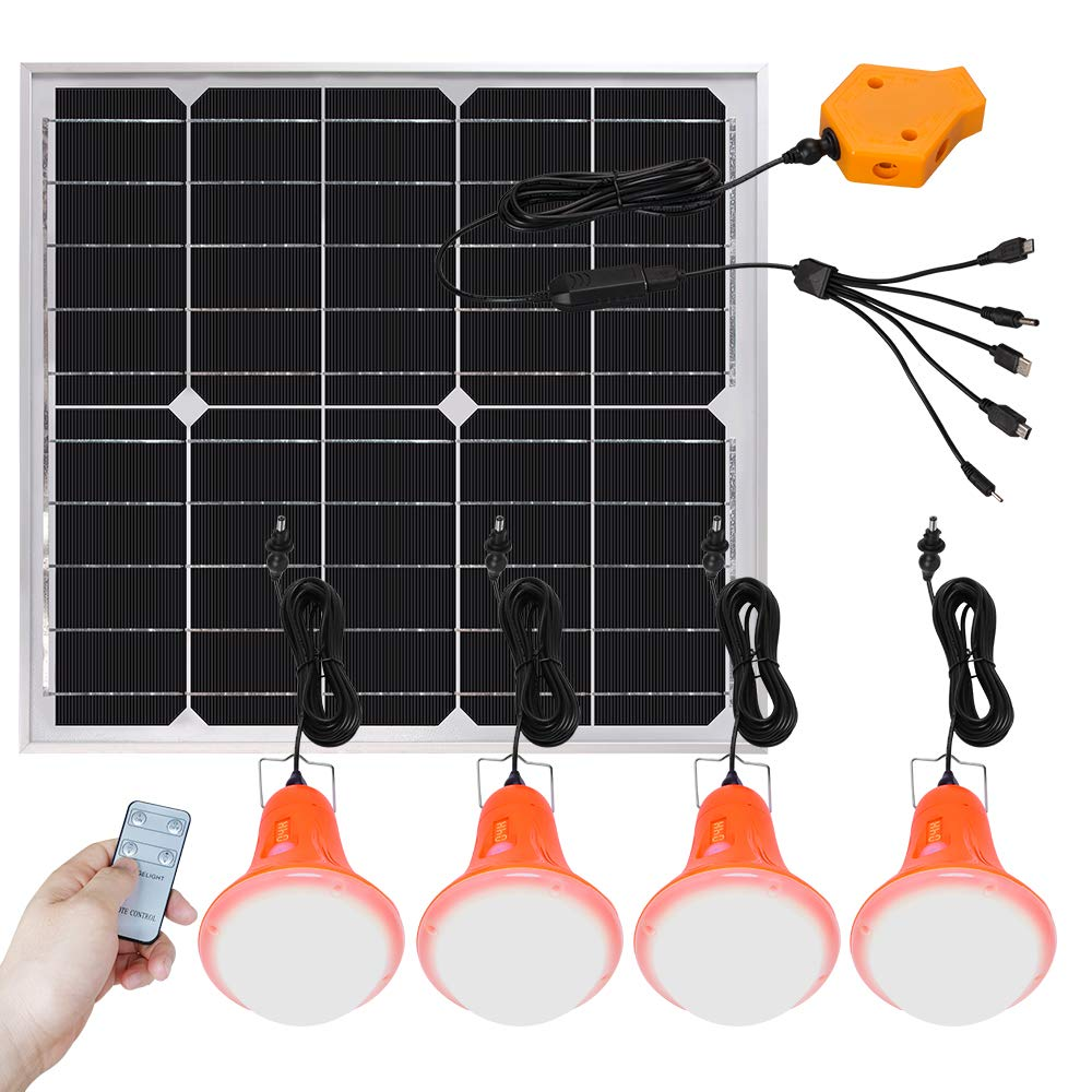 Roopure 20W Solar Panel Lighting Kit Solar Off Grid Lights with Remote Control Solar Powered Shed Lights 4 LED Light Bulb as Emergency Light Cellphone Charger 5V 1A Output Can Charge Power Bank