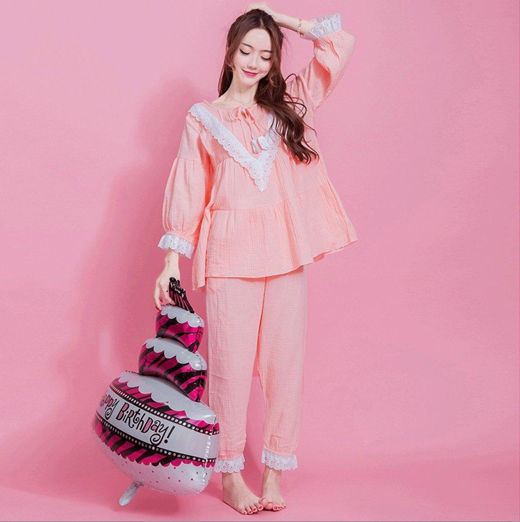 Primavera y verano algodón pijamas damas Tamaño linda ( Pink ...