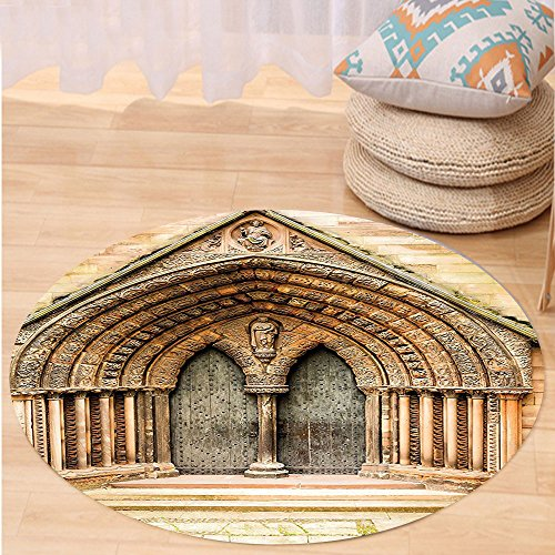 Price comparison product image Niasjnfu Chen Custom carpetRustic Decor Medieval Middle Age Cathedral Door Exit with Gothic Ornate Features Great Britain Uk Theme Bedroom Living Room Dorm Decor Cream