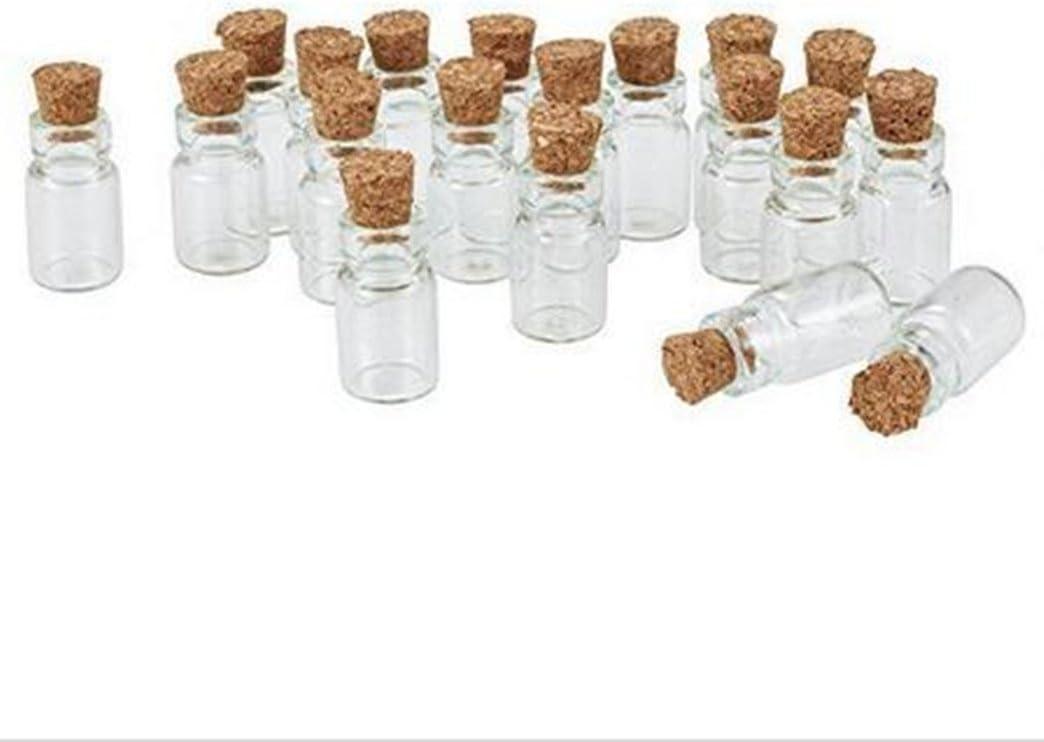 Hacoly 20Unidades Mini Botella de Cristal con Corcho cosmético abgabe de Botellas weithals Cristal Bottle phiole biberones Poco Vino Botella vacía–18x 10mm
