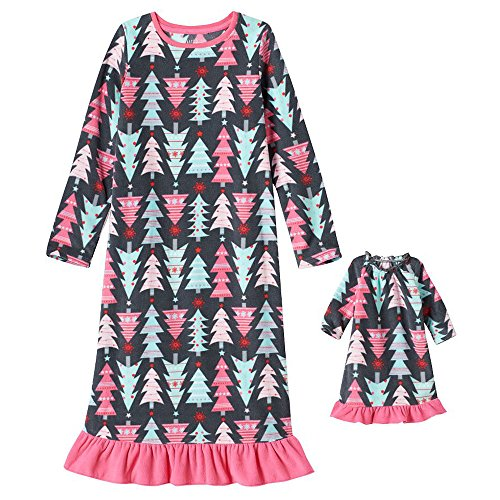 Little Girls' Holiday Fleece Nightgown with Matching 18 inch Doll Pajamas (5, Christmas Tree)