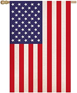 Shmbada American Burlap House Flag, Double Sided Premium Fabric, USA Stars and Stripes Patriotic US Decorative Large Flags, Outdoor Decoration for Home Garden Yard Porch Patio, 28 x 40 Inch