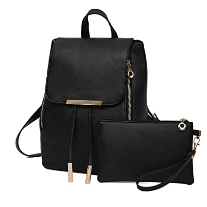 59f879fbb99b Amazon.com  LuluZanm Women Bags 2Pcs Fashion Women Girls Leather Backpack  Travel School Handbag Clutch Bag BK  Arts