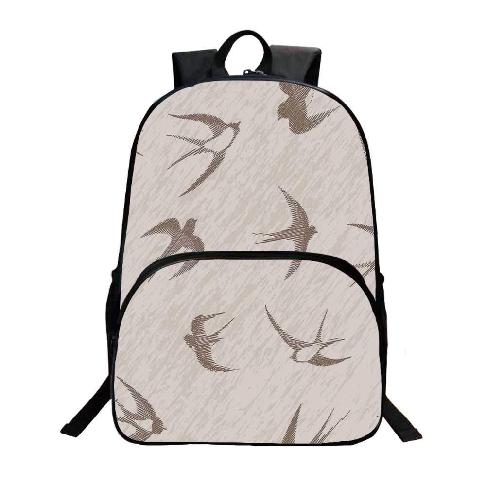 Birds Fashionable Backpack,Flying Bird Swallow Vintage Design Illustration Springtime Wildlife Classic Art for Boys,11.8''L x 6.2''W x 15.7''H by TecBillion