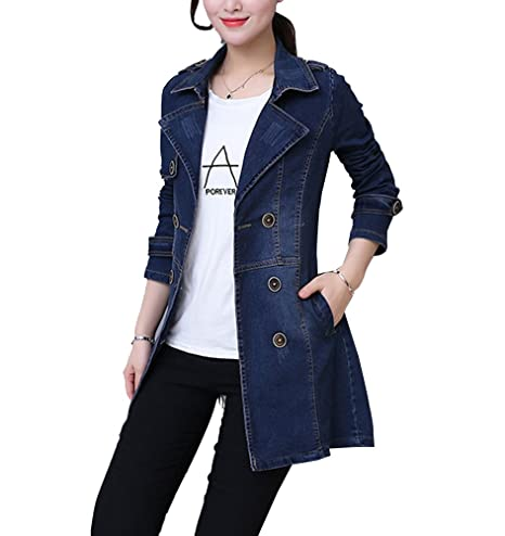 d3a5c7b02eab19 Giacca Donna Casual Giacca Jeans Denim Manica Lunga Giubbino Jacket DenBlu M